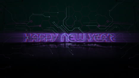 Animation-intro-text-Happy-New-Year-and-cyberpunk-animation-background-with-computer-chip-and-neon-lines