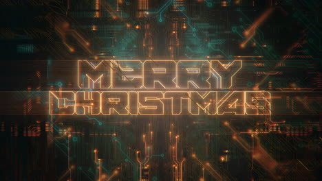 Animation-intro-text-Merry-Christmas-and-cyberpunk-animation-background-with-computer-chip-and-neon-lights