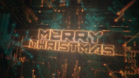 Animation-text-Merry-Christmas-and-cyberpunk-animation-background-with-computer-chip-and-neon-lights