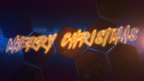 Animation-text-Merry-Christmas-and-cyberpunk-animation-background-with-computer-chip-and-hexagons
