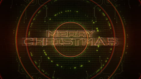 Animation-intro-text-Merry-Christmas-and-cyberpunk-animation-background-with-computer-matrix-numbers-and-circles