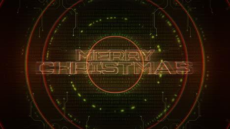 Texto-De-Introducción-De-Animación-Feliz-Navidad-Y-Fondo-De-Animación-Cyberpunk-Con-Números-Y-Círculos-De-Matriz-De-Computadora