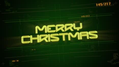 Texto-De-Animación-Feliz-Navidad-Y-Fondo-De-Animación-Cyberpunk-Con-Números-De-Matriz-De-Computadora-Y-Cuadrícula
