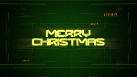 Animation-intro-text-Merry-Christmas-and-cyberpunk-animation-background-with-computer-matrix-numbers-and-grid