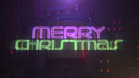 Animation-text-Merry-Christmas-and-cyberpunk-animation-background-with-computer-chip-and-neon-lights-1