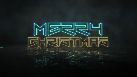 Animation-text-Merry-Christmas-and-cyberpunk-animation-background-with-neon-lights-on-street-of-city