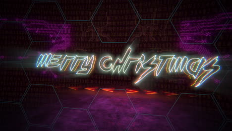 Animation-intro-text-Merry-Christmas-and-cyberpunk-animation-background-with-computer-matrix-numbers-and-grid-1