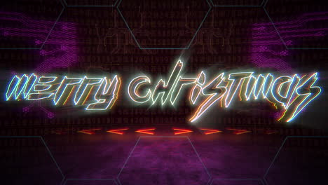 Animation-text-Merry-Christmas-and-cyberpunk-animation-background-with-computer-matrix-numbers-and-grid-1