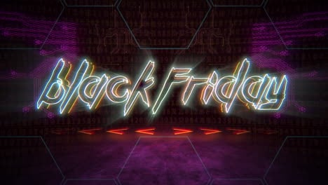 Animation-intro-text-Black-Friday-and-cyberpunk-animation-background-with-computer-matrix-numbers-and-grid