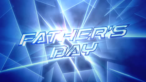 Animation-text-Fathers-day-and-motion-blue-neon-lines-abstract-holiday-background