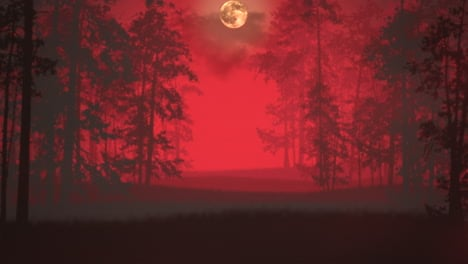 Mystical-horror-background-with-dark-blood-forest-and-fog-abstract-backdrop