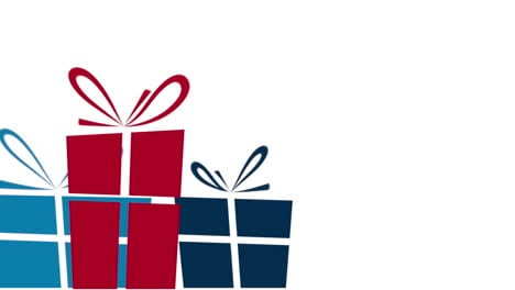 Animated-closeup-motion-blue-and-red-gifts-on-white-background