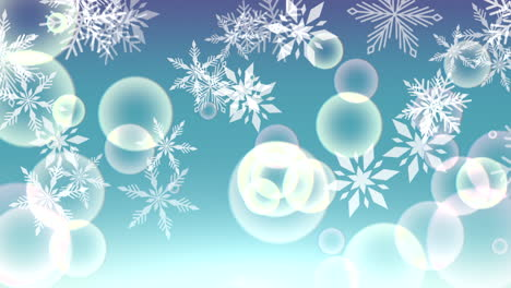 Animation-fly-white-snowflakes-and-abstract-particles-on-blue-holiday-background