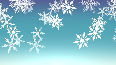 Animation-fly-white-snowflakes-and-abstract-particles-on-blue-holiday-background-1