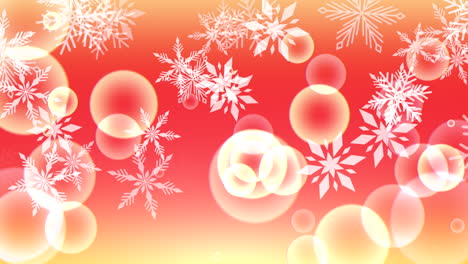 Animation-fly-white-snowflakes-and-abstract-particles-on-red-holiday-background