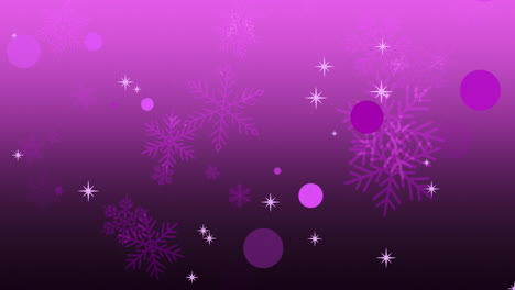 Animation-fly-purple-snowflakes-and-abstract-particles-1