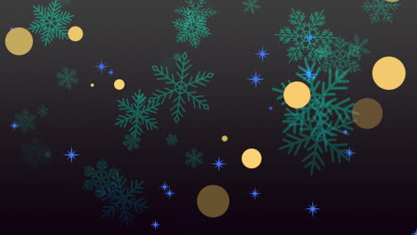 Animation-fly-green-snowflakes-and-glitters-on-black-holiday-winter-background