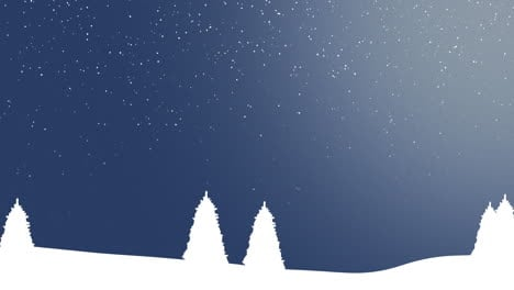 Nature-winter-background-with-Christmas-trees-and-white-snowflakes-in-night