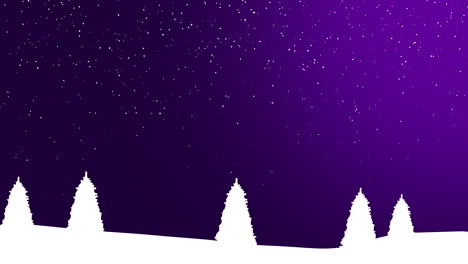 Nature-winter-background-with-Christmas-trees-and-white-snowflakes-in-night-1