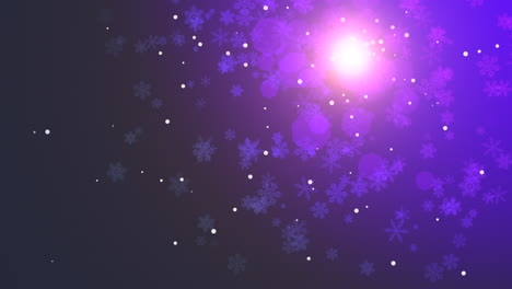 Animation-fly-purple-snowflakes-and-abstract-particles