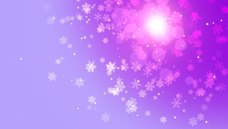 Animation-fly-white-snowflakes-and-abstract-particles-on-purple-holiday-background-1