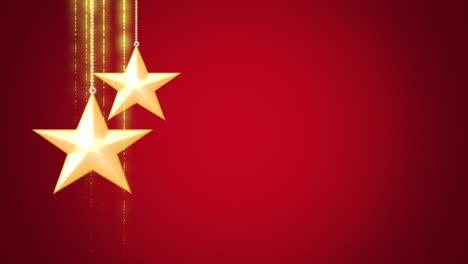 Primer-Movimiento-Animado-Estrellas-De-Navidad-Doradas-Sobre-Fondo-Rojo-