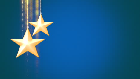 Animated-closeup-motion-gold-Christmas-stars-on-blue-background