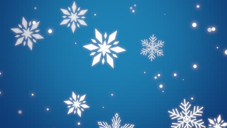 Animation-fly-white-snowflakes-and-glitters-on-blue-holiday-background