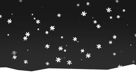 Animation-white-snowflakes-on-nature-winter-background-with-snow-in-night