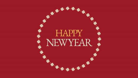 Animated-closeup-Happy-New-Year-text-and-snowflakes-on-red-holiday-background