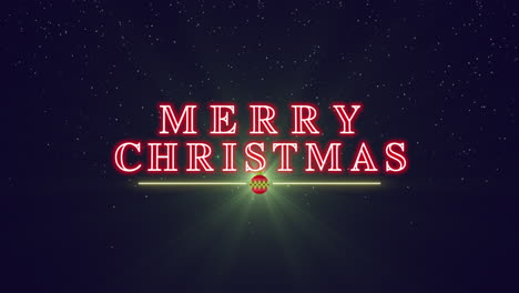Animated-closeup-Merry-Christmas-text-with-Christmas-ball-and-stars-on-winter-holiday-background