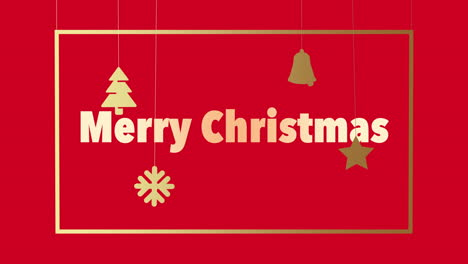 Animated-closeup-Merry-Christmas-text-and-Christmas-toys-and-snowflakes-on-red-holiday-background