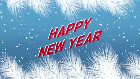Animated-closeup-Happy-New-Year-text-and-winter-landscape-with-snowflakes-and-Christmas-tree-branches-on-holiday-background