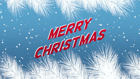 Animated-closeup-Merry-Christmas-text-and-winter-landscape-with-snowflakes-and-Christmas-tree-branches-on-holiday-background