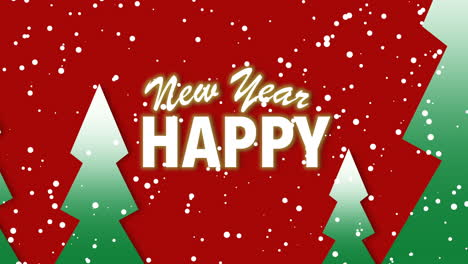 Animated-closeup-Happy-New-Year-text-and-winter-landscape-with-trees-and-snow-on-holiday-background
