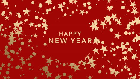 Animated-closeup-Happy-New-Year-text-and-gold-snowflakes-and-stars-on-winter-holiday-background