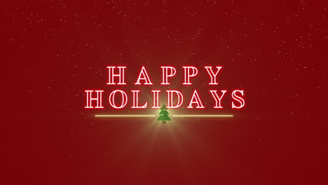 Animated-closeup-Happy-Holidays-text-with-Christmas-tree-and-stars-on-winter-holiday-background