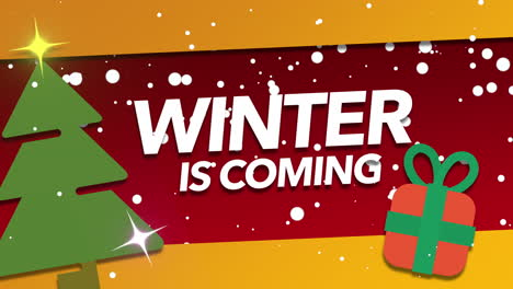 Animated-closeup-Winter-is-Coming-text-and-white-snowflakes-on-holiday-background