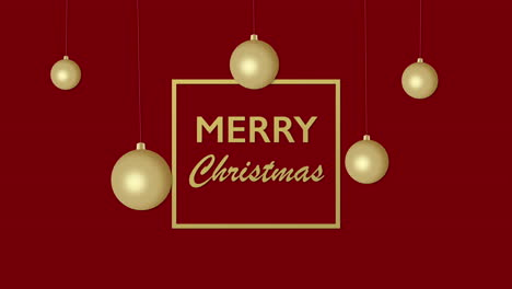 Animated-closeup-Merry-Christmas-text-and-gold-Christmas-balls-on-red-holiday-background