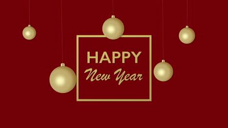 Primer-Plano-Animado-Texto-De-Feliz-Año-Nuevo-Y-Bolas-De-Navidad-Doradas-Sobre-Fondo-Rojo-De-Vacaciones