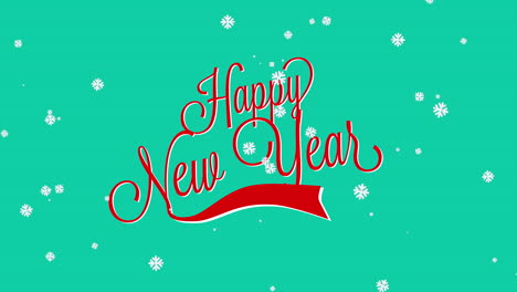 Animated-closeup-Happy-New-Year-text-with-snowflakes-on-winter-holiday-background