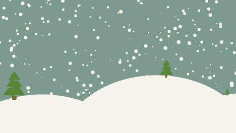 Animierter-Nahaufnahme-Schneewald-Mit-Bäumen-Und-Bergen-Urlaub-Hintergrund