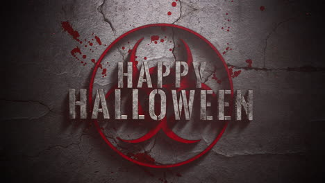 Animated-closeup-text-Happy-Halloween-and-mystical-horror-background-with-toxic-sign-and-dark-bloode