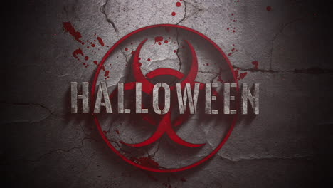 Animated-closeup-text-Halloween-and-mystical-horror-background-with-toxic-sign-and-dark-blood
