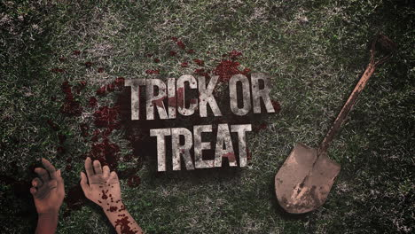 Animated-closeup-text-Trick-or-Treat-and-mystical-horror-background-with-dark-blood-hands-and-shovel
