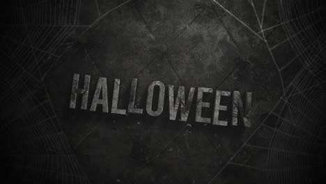 Animation-text-Halloween-and-mystical-horror-background-with-dark-spiderweb