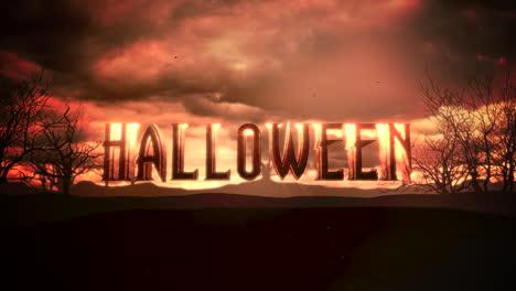 Texto-De-Animación-Halloween-Y-Animación-Mística-Fondo-De-Halloween-Con-Nubes-Oscuras-Y-Montañas-Texto-De-Animación-Halloween-Y-Animación-Mística-Fondo-De-Halloween-Con-Nubes-Oscuras-Y-Montañas