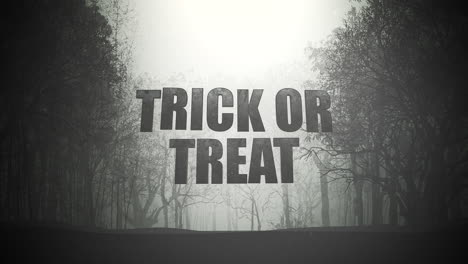 Animation-text-Trick-or-Treat-and-mystical-background-with-dark-forest-and-fog