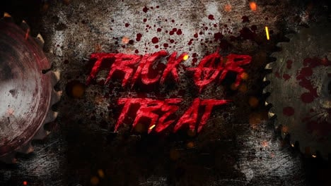 Animation-text-Trick-or-Treat-and-mystical-horror-background-with-electric-saw-and-dark-blood