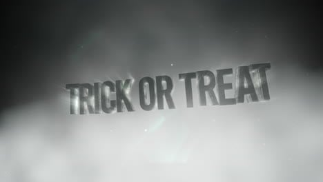 Animation-text-Trick-or-Treat-on-mystical-horror-background-with-dark-smoke-and-motion-camera